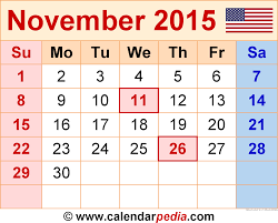 november 2015 calendar thanksgiving