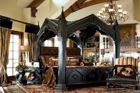 artistic black wooden canopy bed and brown furry rug for your