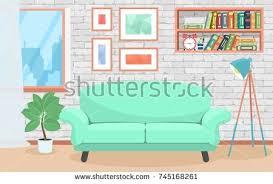 cartoon apartment living room interior house stock vector