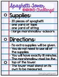 Challenge Directions Stem Idea One Of The Most Popular Challenges Is The Spaghetti