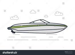 vector line illustration gray speed boat stock vector 349307396
