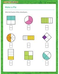 math lessons for 4th grade make a pie free fraction worksheet math blaster
