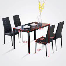 Dining Room Chair Sets Of 4 by Amazon Com 4family 5pc Dining Table Set 4 Chairs Glass Metal