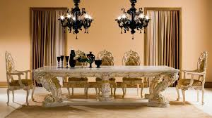 classic dining room with attractive lamps and furniture for luxury