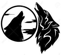 howling wolf tribal black and white illustration royalty free