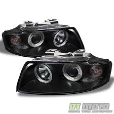 audi a4 headlights 02 05 audi a4 s4 b6 led halo black 1 piece projector headlights