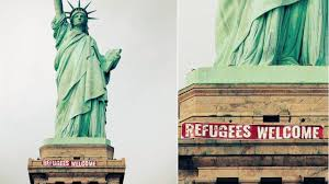 refugees welcome u0027 banner unfurled on statue of liberty abc7ny com