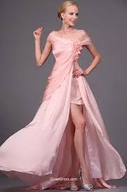 pink off the shoulder slit a line floor length prom dress
