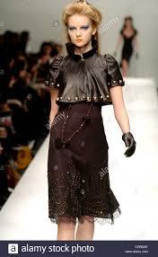 moschino milan ready to wear autumn winter brown leather bolero