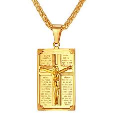 religious necklace u7 crucifix cross pendant antique 18k gold plated
