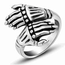 silver hand rings images Men 39 s skeleton hand ring png