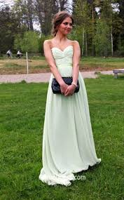mint green a line long elegant strapless pleated chiffon prom