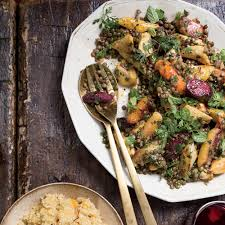 Green Root Vegetables - warm lentil and root vegetable salad with coconut tzatziki recipe