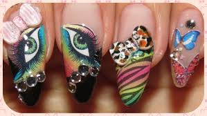 water decals and 3d animal print bows in a kawaii nail design