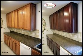 Before And After Kitchen Cabinet Painting N Hance Within Refinished Kitchen Cabinets Before And After Amys