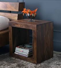 wood cube end table buy cube end table in light walnut finish by the armchair online
