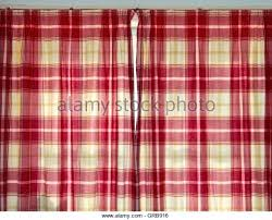 Pink Tartan Curtains Tartan Curtains Brown Pencil Pleat Stock Photos Images Woodio
