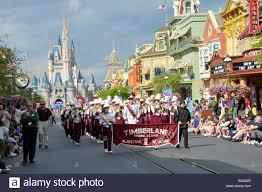 disney thanksgiving day parade high band in parade at walt disney magic kingdom theme park