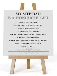 personalised square wooden plaque stepdad poem gift complete with