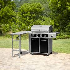 kenmore 4 burner gas grill with folding side table lit knobs and