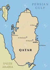 Doha Map Qatar Map Outline Illustration Country Map With Main Cities