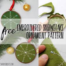 free diy embroidered snowflake ornament pattern swoodson says