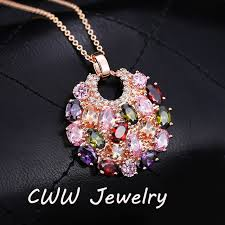 multi colored stones necklace images Cwwzircons european style multi color swiss cz stone paved round jpg