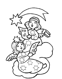 print two christmas angel singing christmas song coloring pages or