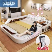 massaging leather tatami bed skin leather art bed double bed 1 8