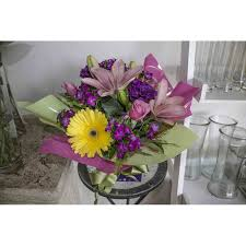 Purple Carnations Lily Purple Carnations Yellow Gerberas Musky Pink Roses And