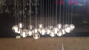 Glass Balls Chandelier Orion 25 Light Led Rectangular Floating Glass Balls Chandelier