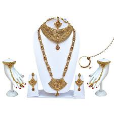 bridal jewelry necklace set images Lucky jewellery for bride golden alloy copper type lct stones jpg