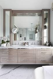 Grey Vanity Bathroom by Muted Grey Vanity With Polished Nickel Pulls And A Light Stone