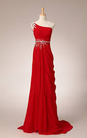 pretty elegant red one shoulder prom dress with beadings simple