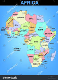 Map Of Africa Political by Political Illustrated Map Africa Stock Vector 6074110 Shutterstock