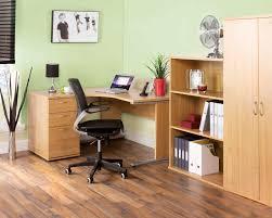 Blonde Oak Laminate Flooring Urban Home Office Right Hand Ergonomic Desk 1380mm Blonde Oak