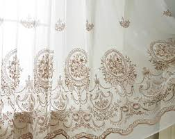 Sheer Embroidered Curtains A Pair Of Gold Leaf Patterned Embroidey Sheer Curtains Made To