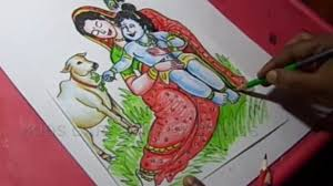 drawing colour krishna radha young age radha