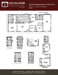 schult modular home floor plans schult independence 7632 62 4 excelsior homes west inc