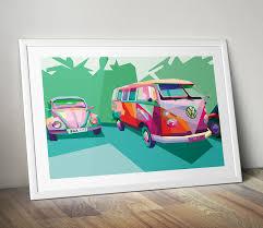 vw campervan pop art canvas print pop art gifts pop art shop