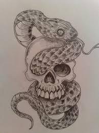 skull and snake designs roses and skull snake tattoos sketch