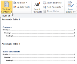 Create Table Of Contents In Word 2013 Insert Table Of Contents Using Outline Levels In Word 2010