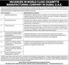 Machine Operator Job Description Job Operators For Filter Rod Making Machines United Arab