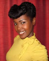 natural pin up hairstyles for black women retro updo with faux bangs and victory rolls on naturally curly
