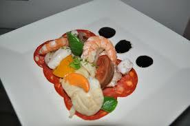 assiette de cuisine chorizo en carpaccio poulpe st jacques et gambas cuisine de kattylou