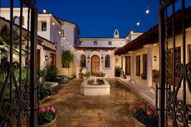 homes with courtyards grand hacienda style homes courtyard with green grass area and
