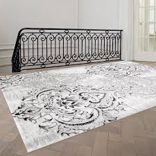 Black Grey And White Area Rugs Fleur De Lis Living Abbate Venetian Grey White Area Rug Reviews