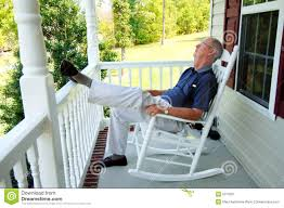 Old Man Rocking Chair Senior Man Naps On Front Porch Royalty Free Stock Photography