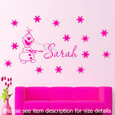 disney frozen snowman olaf personalized name snowflake jr decal disney frozen snowman olaf personalized name snowflake in pink