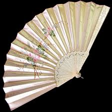 silk fan large antique silk fan painted pink roses sold on